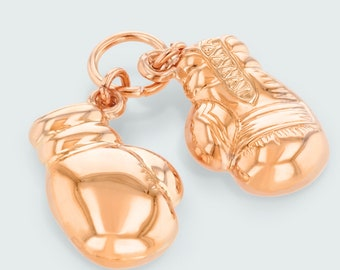 High Polished 14K Rose Gold Dangling Double 3D Boxing Gloves Charm Pink Gold Sports Pendant