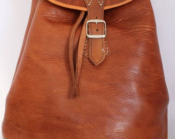 069 Large Vintage Style Real Genuine Leather Bag Rucksack Backpack Brown