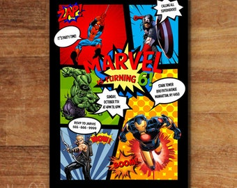 Superhero Comic Invitation, Super Heroes Invitation, Superhero  Birthday Party, Superhero Superhero Invitation, Avengers Birthday Invitation