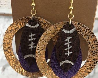 Clearance Sale Football Leather Earrings