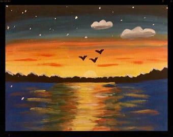 Blue Sunset Painting