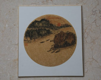 Chinese Ink Painting - Forests, Island & Boats
