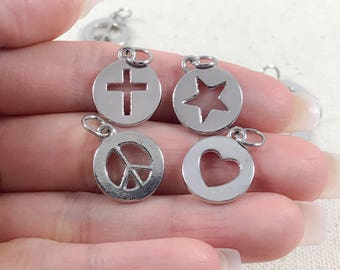 10 Pc Silver Cutout Charms | Antique Silver Charms | Cross Charms | Star Charms | Heart Cutout Charms | Peace Sign Charms | 19x15mm SC284