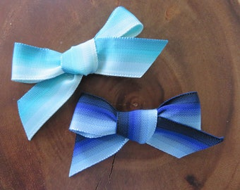 Ombre Turquoise and Navy Ribbon Bows
