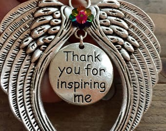Thank you for inspiring me angel ornament, Angel for mentor, friend, granddaughter, grandson, sister, mother, father, brother ornament,