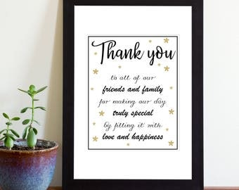 Thank You Wedding Sign, Printable Wedding Sign, Black and Gold, Instant Download