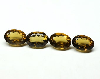 Amazing Natural Whiskey Quartz Faceted Oval 10x14x7 mm 4 PCs Shape- Oval Faceted Natural Quartz Gemstone
