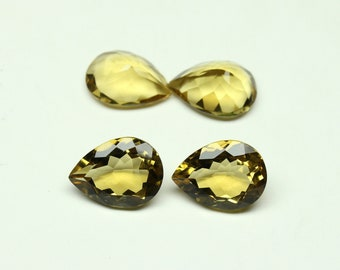 2 PCs AAA Quality Natural Beer Quartz Size- 12x16 mm Shape Pear Faceted Jewellery Making Gemstone