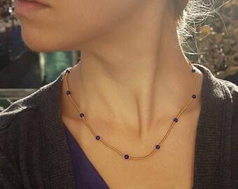 Dainty lapis lazuli necklace for women/ Skinny gold necklace/ Short gemstone necklace/ Short layering necklace beaded/ Thin beaded necklace
