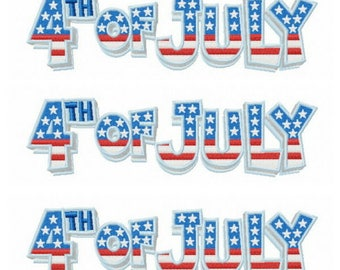 9 Sizes 4th of July embroidery design
