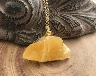 Orange Calcite, Crystal Necklace, Healing, Wire Wrapped