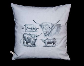 Pillow cover - embroidered with Highland cows