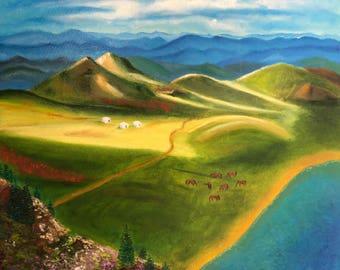Asian Cultural art Asian fine art Landscape painting impressionist landscape original Summer fields Yurt art Kazakhstan art Free shipping