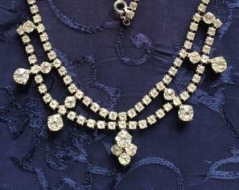 Vintage 15 1/2 inch Rhinestone Necklace