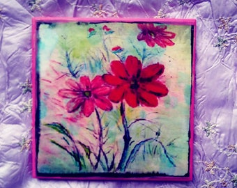 ceramic tile art floral original water color digitally enhanced pink purple