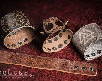 2+2 gratis ,Celtic Leather Bracelet, Viking Bracelet, Men's  Wristband , runes bracelet, Nordic Leather Bracelet Cuff, Men's Cuff Bracelet