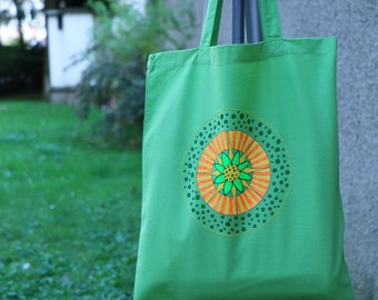 Tote bag unique, peint à la main, sac coton, sac cabas, sac shopping, sac de toile, sac de plage, sac à main, fleurs