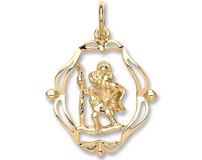 9ct Gold Cut Out Ornate St Christopher Charm Pendant 20x18mm