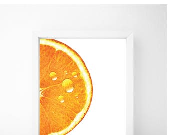 Orange Print, Food Art, Food Print, Kitchen Print, Kitchen Wall Art, Kitchen Wall Decor, Printable Wall Art
