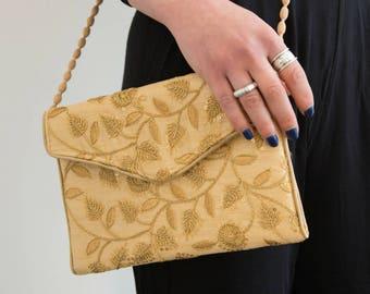 Gold Handbag, Embroidered Handbag, Gold Sequins Purse, Evening Bag Purse, Floral Bag, Silk Handbag, Gold Sequins Cross Body, Ethnic Handbag