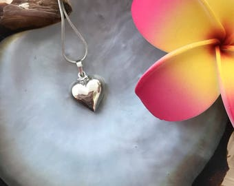 SOLID .925 STERLING SILVER- Love Heart Pendant