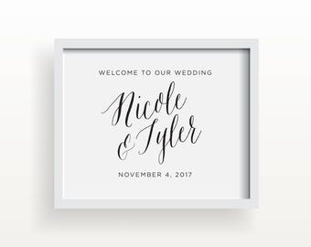 8x10_Black on White Wedding Sign_Custom Welcome to our Wedding