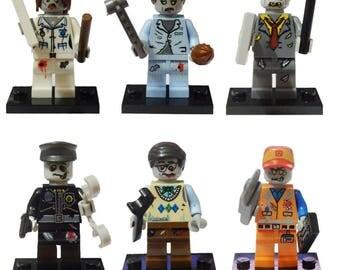 Set of 6 Zombies Minifigures Evil Dead Horror Lego Compatible