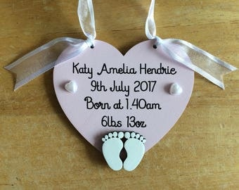 New Baby Birth Announcement Arrival Gift Heart Plaque Personalised Date of Birth Weight Time