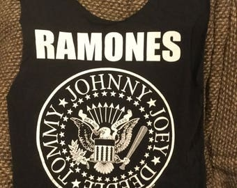 "This is a tote bag made from a repurposed ""Ramones"" tee."