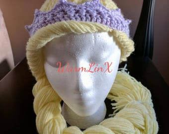 Pattern - Princess Hair Wig (with Crown) Crochet Pattern