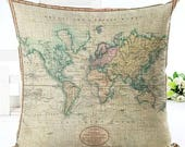 Wanderlust Cushion Cover 1 *Free Shipping* World Map Pillow Cover, Accent Pillow, Throw Pillow, Couch Cushion, Travel, Geography
