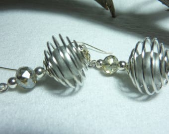 "Jewelry earrings Silver ""Silver crystal ball"""