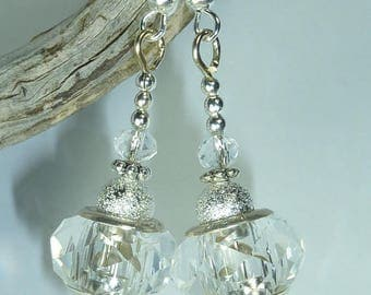 "Jewelry Silver earrings ""crystal transparency"""