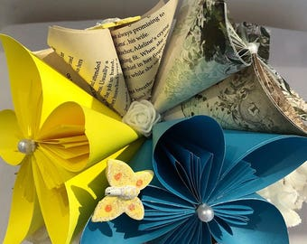 Book folded paper vase and flowers