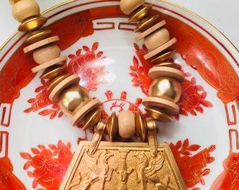 Les Bernard 1960's Egyptian style bohemian style beaded necklace....