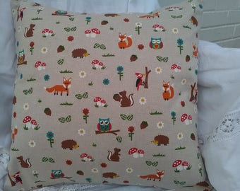 Handmade Cushion Cover. 18 inch/ 46cm. Colourful woodland creatures animals fox hedgehog squirrel flower toadstool