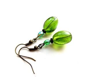 Silver olive green resin earrings