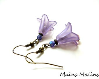 Lilac lucite flower Bell earrings