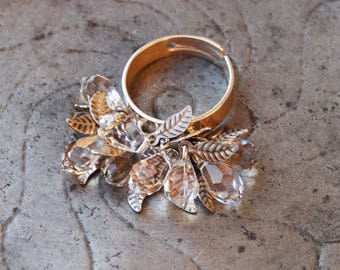 """""""Ice flower"""" - ring ring Silver 925 - drops of clear Swarovski Crystal & foliage"""