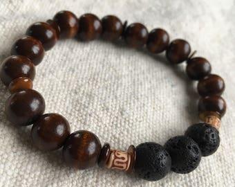 "Mens wood bead essential oil bracelet.  ""Hamilton"""