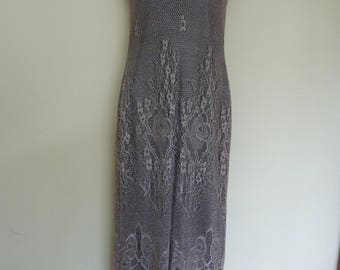 Lace Evening Gown.  Size 10. Mocha/purple.  Made in England