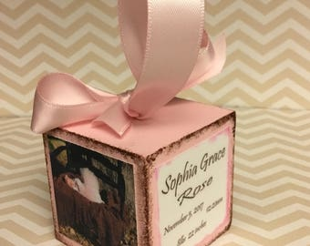 Baby's first Christmas Ornament,  Photo Block Ornament, Personalized Photo Block Ornament, 1st Christmas Ornament