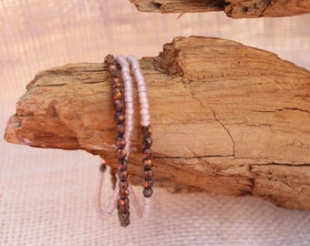 Copper Colored Czech Glass Beaded Bracelet