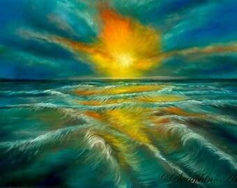 Sea Sunset Original Pastel Painting