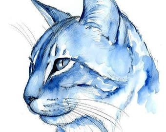 Blue Tabby Cat Original Watercolor Painting