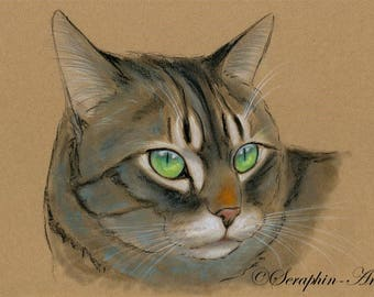 Tabby Cat Original Pastel Painting