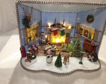 Custom made stained glass miniature Christmas house