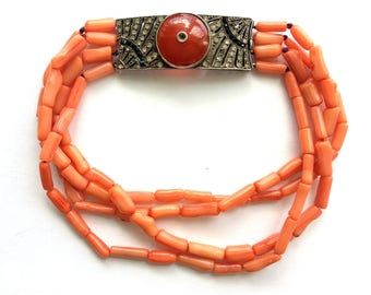 Antique French Art Deco Sterling Silver Carnelian & Paste Stone Natural Coral Bead Bracelet