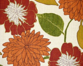Richloom EMILY Color RUSSET Retro Floral Orange Home Decor Drapery Upholstery Sewing Fabric By the Yard BTY
