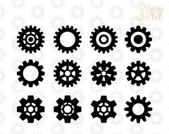 Gears SVG, Gears Silhouette, Gears cut, Cricut Cut Files, Silhouette Cut Files, SVG Files, Cut File SVG, Cricut gears, For Cutting Machines